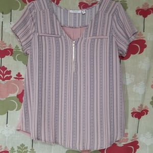 Tempted Pink & Blue Short Sleeve Top Career S